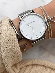 Недорогие -Жен. Наручные часы золотые часы Кварцевый Нержавеющая сталь Черный / Серебристый металл / Розовое золото Секундомер Аналоговый На каждый день Мода Элегантный стиль Рождество - / Один год / Один год