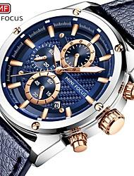 Недорогие -Муж. Нарядные часы Кварцевый Формальный Современный Искусственная кожа Черный / Синий 30 m Защита от влаги Повседневные часы Крупный циферблат Аналоговый Классика Мода -