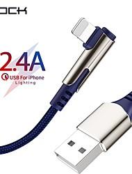 Недорогие -Rock USB-кабель для iphone 90 градусов быстрая зарядка шнур синхронизации данных для iphone xs max x xr 8 7 6 s плюс 5 кабель зарядного устройства мобильного телефона