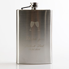 cheap Groom Gifts-Gift Groomsman Personalized Metal  9-oz Flask - Toasting Flutes