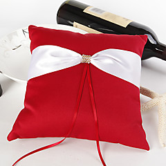 Bold Red Wedding Ring Pillow With Ivory Sash Wedding Ceremony