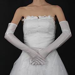 preiswerte Handschuhe für die Party-Satin Baumwolle Handgelenk-Länge Opernlänge Handschuh Charme Stilvoll Brauthandschuhe With Stickerei Einfarbig