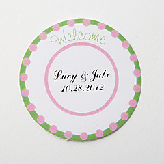 "cheap Wedding Invitations-Personalized Round Favor Stickers – Green ""Welcome"" (Set of 36)"