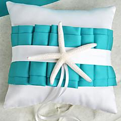 Almofada de aliança azul com tema de praia com cerimônia de casamento da estrela do mar