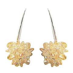Unique Yellow Platinum Plated With Flower Shape Cubic Zirconia Earrings