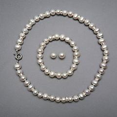 tanie Zestawy biżuterii-Biały Perła Biżuteria Ustaw - Srebrny Zawierać Na Ślub Impreza Rocznica / Kolczyki / Naszyjniki