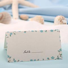 levne Jmenovky a stojánky-místo karty - modrá květina tisk (sada 12) svatební hostina krásná