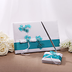 cheap Guest Book and Pens for Wedding-Guest Book Pen Set Satin Floral ThemeWithBowknot