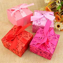 baratos -suporte de suporte de papel de cartão cubóide com fitas favor caixas-12 favores de casamento