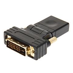 ieftine -DVI 24 +1 pentru HDMI v1.3 Barbat pentru adaptorul de femeie Negru placat cu aur de 360 de grade Revolve