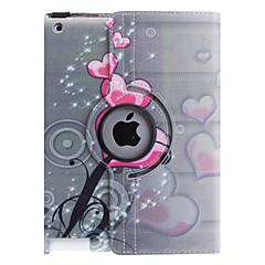 Sydämen muotoinen kukkakuvio 360 astetta kääntyvä PU Leather Full Body Case jalusta iPad 2/3/4