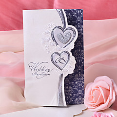 "Tri-Fold Wedding Invitations 50-Invitation Cards Heart Style Pearl Paper 7 1/2 ""×6 1/4"" (19*13.5cm)"