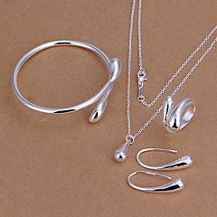 Women's Jewelry Set Basic Fashion Silver Plated Drop Teardrop Necklaces Earrings Rings Bracelets & Bangles For Party Birthday Engagement