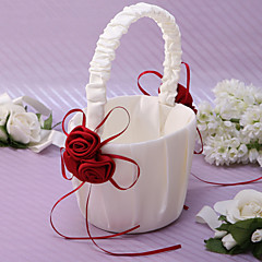 cheap Flower Baskets-Chic Flower Basket In Ivory Satin With Rose Petals Flower Girl Basket