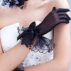 cheap Party Gloves-Tulle Polyester Wrist Length Glove Classical Bridal Gloves Party/ Evening Gloves With Solid