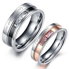 baratos -Mulheres Cristal Cristal Aço Inoxidável Imitações de Diamante Anéis de Casal - Jóias Amor Coração Anel Para Casamento Festa Aniversário