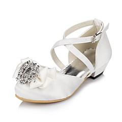 お買い得  ウェディングシューズ-女の子 靴 サテン 春夏 コンフォートシューズ フラット サテンフラワー / フラワー のために アイボリー / ホワイト / 結婚式