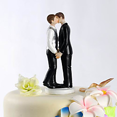 cheap Cake Toppers-Cake Topper Classic Theme Same Sex Resin Wedding With PVC Bag