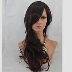 cheap Wigs & Hair Pieces-Synthetic Wig Women's Wavy Black Synthetic Hair 24 inch Black Wig Capless Dark Brown / Dark Auburn