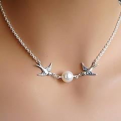 Жен. Ожерелья с подвесками В форме животных Птица Жемчуг Искусственный жемчуг Уникальный дизайн Свадьба европейский бижутерия Бижутерия