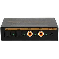 digitaalisesta analogiseksi Audio Converter 4 portti audio-muunnin, 2 SPDIF + 2 koaksiaalituloon, LR /3.5mm / SPDIF-ulostulo vaihtaja