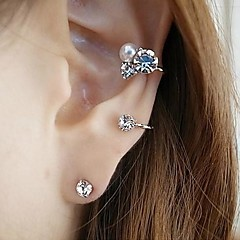 Kolczyki na sztyft Ear Cuffs Perłowy Kryształ górski sztuczna Diament Stop Silver Golden Biżuteria Na Codzienny
