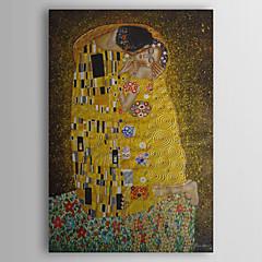 ราคาถูก ศิลปะบนผนัง-ภาพวาดสีน้ำมันมือวาดการจูบโดยกุสตาฟคลิมท์พร้อมกรอบยืด