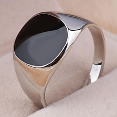 Vintage Contracted Alloy Square Black Oil Men's Statement Ring Jewelry Christmas Gifts