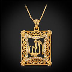 ネックレス 模造ダイヤモンド ペンダントネックレス / ヴィンテージネックレス ジュエリー スクエア クリスタル / ラインストーン / ゴールドメッキ ゴールデン ギフト