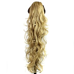 cheap Wigs & Hair Pieces-claw clip synthetic 28 inch golden blonde long curly ponytail