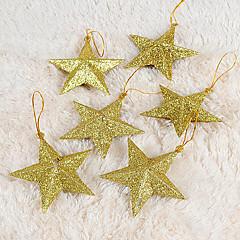 sæt med 6 julepynt gyldne femtakkede stjerne, plast