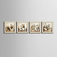 baratos Quadros com Moldura-Floral/Botânico Fantasia Quadros Emoldurados Conjunto Emoldurado Arte de Parede,PVC Material Beje Sem Cartolina de Passepartout com frame