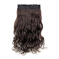 hesapli Peruklar ve Saç Postijleri-5 klipler ile saç uzatma 24 inç 120g uzun koyu kahverengi ısıya dayanıklı sentetik elyaf kıvırcık klip