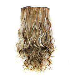 hesapli Peruklar ve Saç Postijleri-5 klipler ile saç uzatma 24 inç 120g uzun ısıya dayanıklı sentetik elyaf kıvırcık klip