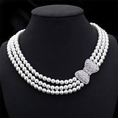 女性用 チョーカー チェーンネックレス カラー 真珠 リボン 真珠 人造真珠 ラインストーン 多層式 コスチュームジュエリー 結婚式 Elegant ジュエリー 用途 結婚式 パーティー