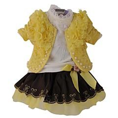 billige Sett med babyklær-Baby Pige Blomstret Langærmet Normal Normal Tøjsæt Gul 100