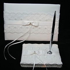 Elegant Wedding Guestbook And Pen Set With Lace Sign In Book