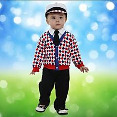 baratos Roupas de Meninos-Bébé Para Meninos Quadriculada Manga Longa Padrão Padrão Conjunto Vermelho