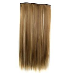 hesapli Peruklar ve Saç Postijleri-5 klipler peruk ile saç uzatma 24 inç 120g uzun sentetik düz klip