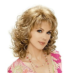 cheap Wigs & Hair Pieces-Synthetic Wig Blonde With Bangs Synthetic Hair Blonde Wig Medium Length