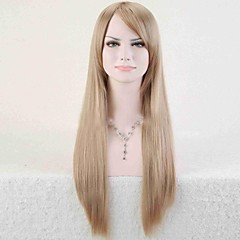 cheap Wigs & Hair Pieces-Synthetic Wig Women's Straight Golden Asymmetrical Synthetic Hair 25 inch Natural Hairline Golden / Blonde Wig Long Capless Light Blonde