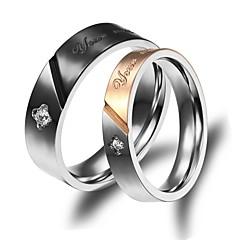 baratos -Mulheres Chapeado Dourado 18k Ouro Anéis de Casal - Fashion Anel Para Casamento Festa Diário Casual Esportes