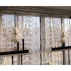 """Egy panel 32 """"wx90"""" l (82cmwx230cml) virágos hímzett botanikai sárga Százszorszép Terri Wong puszta függöny"""