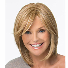 billiga Peruker och hårförlängning-Syntetiska peruker Rak Blond Syntetiskt hår 12 tum Blond Peruk Dam Korta Brun