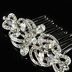 cheap Party Headpieces-Sterling Silver Alloy Hair Combs Flowers Headwear with Floral 1pc Wedding Special Occasion Headpiece