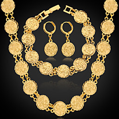baratos Conjuntos de Bijuteria-Mulheres Conjunto de jóias - Pedaço de Platina, Chapeado Dourado Incluir Prata / Dourado Para Casamento Festa Diário / Brincos / Colares / Bracelete