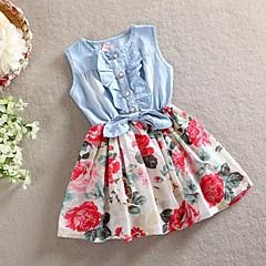 baratos Roupas de Meninas-Infantil Bébé Para Meninas Floral Feriado Floral Laço Sem Manga Vestido