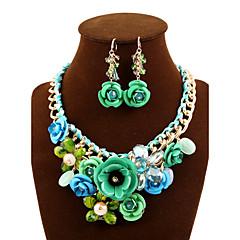 baratos Conjuntos de Bijuteria-Cristal Conjunto de jóias - Importante, Vintage, Festa Incluir Verde / Azul / Rosa claro Para Festa