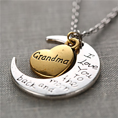 Fashion Alloy Heart and Moon Grandma I Love You to the Moon and Back Necklace