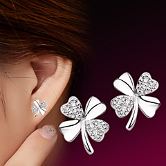 cheap -Women's Cubic Zirconia Stud Earrings - Sterling Silver, Silver Flower Simple Style, Fashion Silver For Wedding / Party / Daily